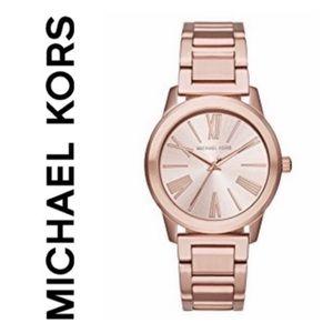 NWT authentic MK Hartman rose gold tone watch